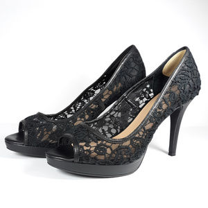 Antonio Melani Black Lace High Heel Shoes Size 10